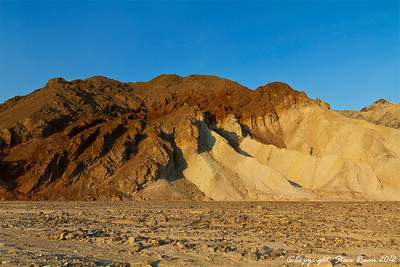 View of the mountains in Death Valley before sunset.