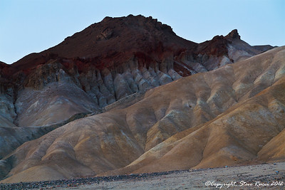 View of the mountains in Death Valley at sunset.