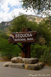 At the entrance to Sequoia National Park - California.