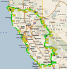 The route we followed beginning at Bakersfield 1800 miles.
