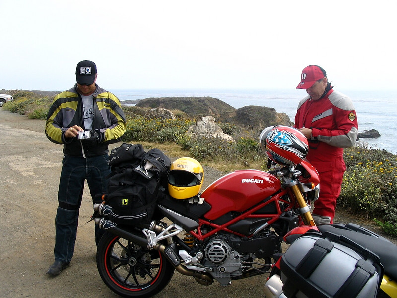 "Monday - We nick named Tom(right) the ""Iron Man"" for riding the Ducati"