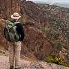 in his Mystery Ranch backpack at Pinnacles National Monument, Soledad CA