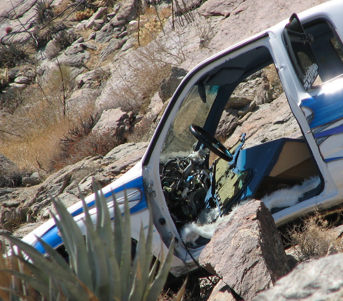 Close-up of Pickup Truck Halfway Down the Cliff - A Pile of Rocks Stopped It From Going Further - Anza-Borrego Desert State Park   2-14-07