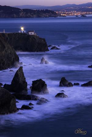 Point Bonita Lighthouse and San Francisco lights