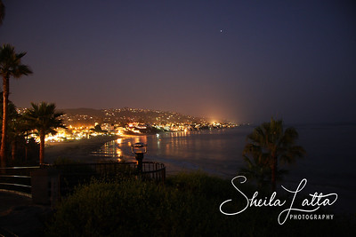 Laguna Beach at twilight.