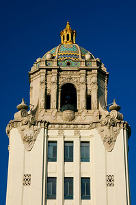 Beverly Hills City Hall  The Spanish Renaissance style building is topped with a blue, green and gold tile dome gilded cupola.