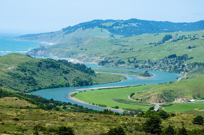 The Russian River winds past the town of Jenner on it's way to the Pacific Ocean.