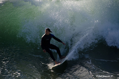 Surfer at Huntington Beach, CA December 21, 2011