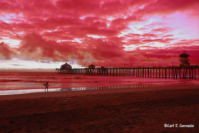 "Huntington Beach, California  -  December 17, 2007  This photo was ""re-colored"" using Paint Shop Pro XI.  A section of the Blue color range was changed to Red. The photo was taken at Sunset with available light using my Nikon D-80 and  Tamron SP AF 17-50mm f/2.8 XR Di-II LD Asp IF lens."