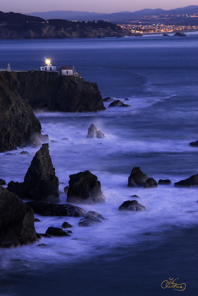 Point Bonita Lighthouse and San Francisco lights
