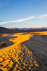 Footprints in sand dunes in Death Valley National Park