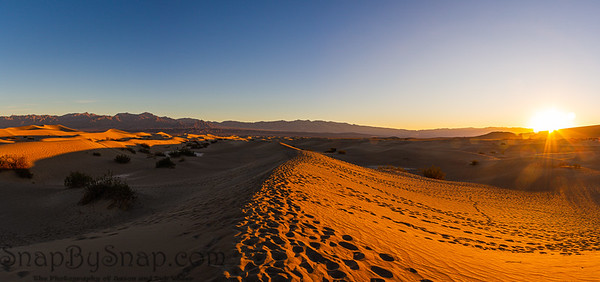 A Panorama of sand dunes in Death Valley near stovepipe wells