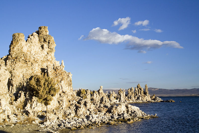 Tufas at Mono lake are essentially common limestone. Formations are created under water from a chemical reaction between calcium and carbonates. Today tufas are visible because the lake level fell dramatically after water diversions in 1941.