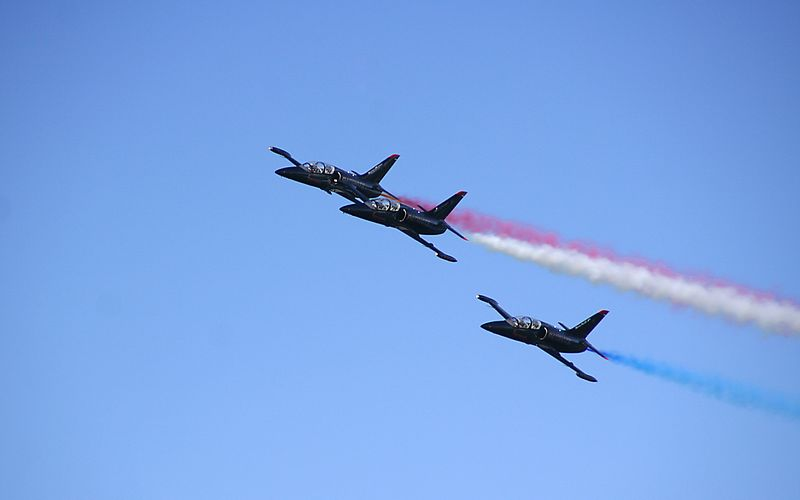 The Patriots, flying the Boeing/Aero-Vodochody L-39C, are the only civilian-owned military jet aerobatic team in the USA.