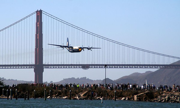 Blue Angels C-130 barely clearing the Golden Gate Bridge.