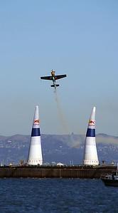 Red Bull Air race is an aerobatic slalom race against the clock.