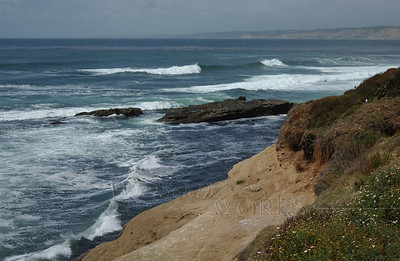 La Jolla scene showing the coastline many miles North as well