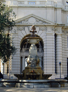 Fountain in the gardens of the Pasadena City Hall  Beautiful Spanish style turn-of-the-Century Building  Pasadena, California