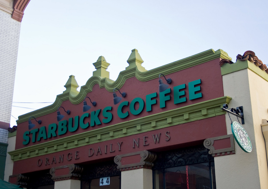 Orange Daily News building, now Starbucks, Orange, CA. Image Copyright 2009 by DJB.  All Rights Reserved.
