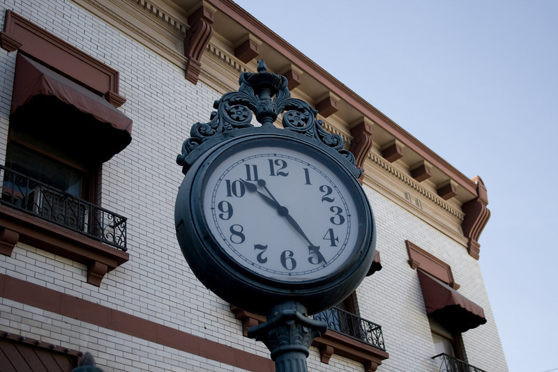 Street Clock in Old Town Orange, Orange, CA. Image Copyright 2009 by DJB.  All Rights Reserved.