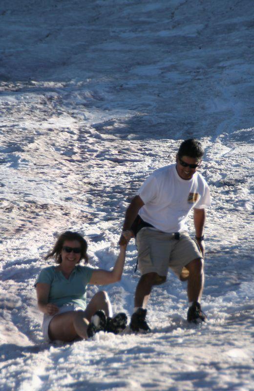 New sport: Sliking (Sliding during our return hike).