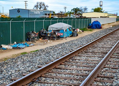 Homeless encampment along the RR tracks