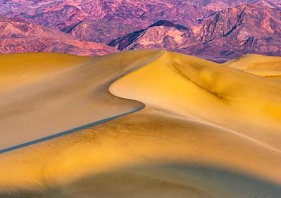 The dunes with morning light on the Amargosa Range.