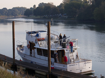 Our boat, the Delphinus, at the Ryde Hotel dock on the Sacramento River  Copyright 2011 Neil Stahl