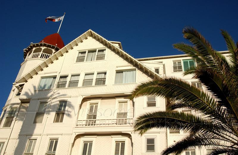 Side view of Del Coronado Hotel in San Diego, California