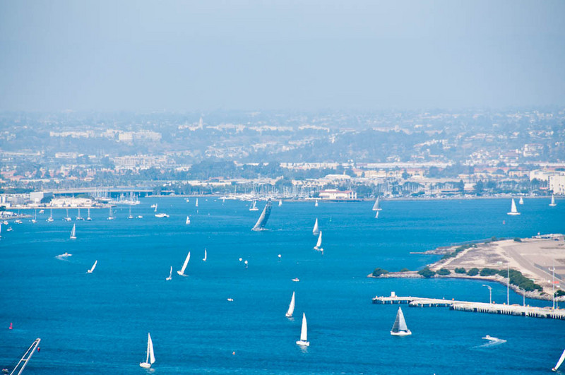 San Diego sailboats from Point Loma Cabrillo National Monument.