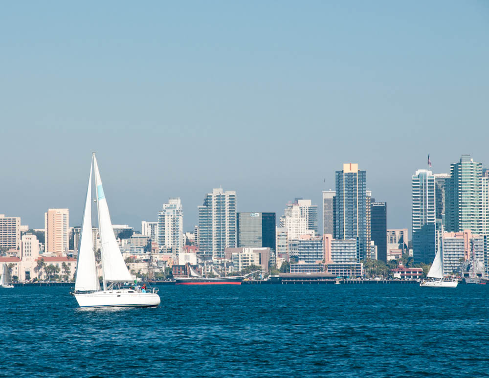Sail boats in San Diego bay with city skyline in background.