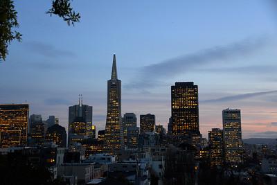 California Travel Photography - San Francisco Skyline at sunset