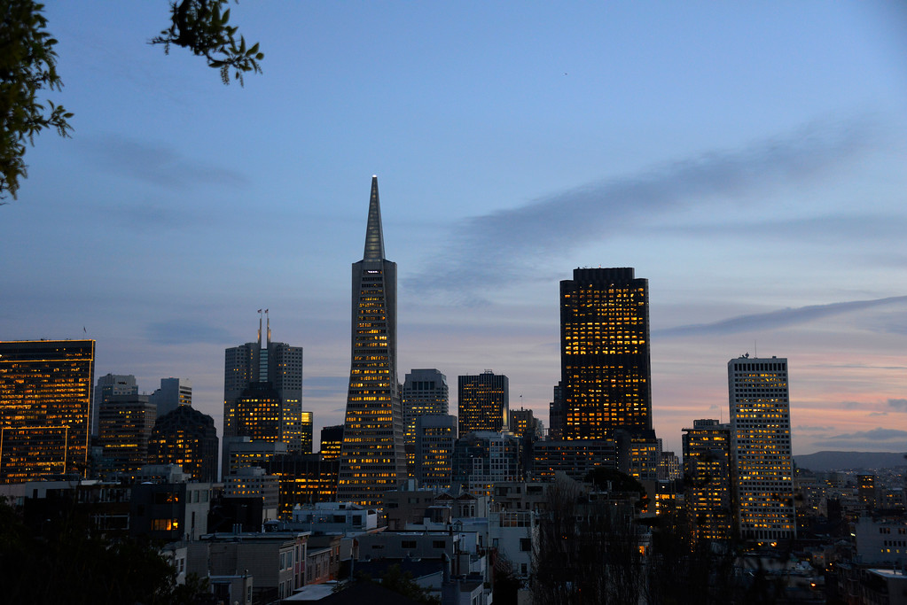 California Travel Photography - San Francisco Skyline at sunset