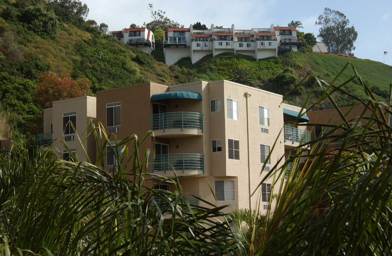 Apartments high on a cliff overlooking our hotel