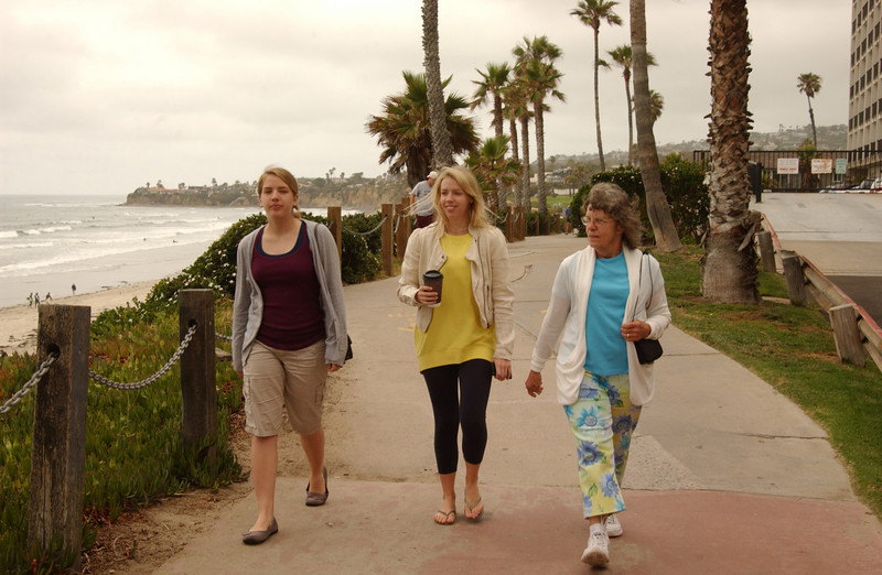 Chara, Lydia & Mom walking along Pacific Beach
