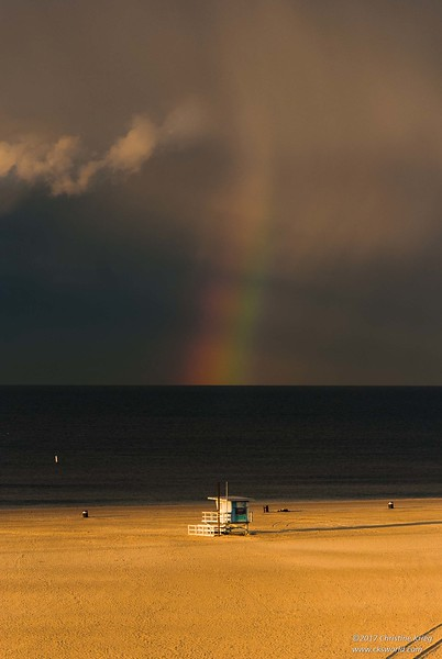 Rainbow over Santa Monica Beach