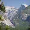 A view down Yosemite Vally with Half Dome in the distance.