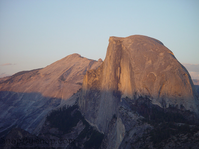 Half Dome in the evening from Glacier Point with alpine glow