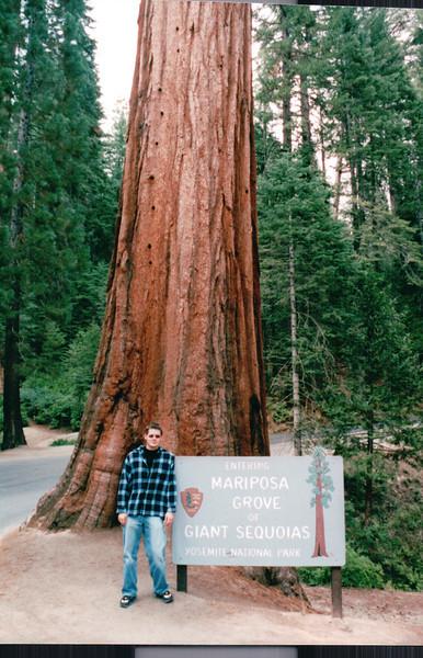 Ben at Entrance - Mariposa Grove of Giant Sequoias - Yosemite National Park  9-9-03