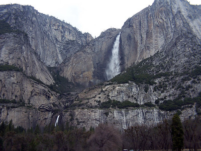 Upper and Lower Yosemite Falls. Together they drop 2,425 feet, with a cascade connecting them.