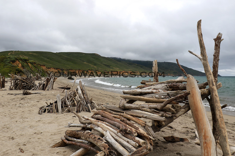 2019-06-20_409_Big Sur_Andrew Molera SB.JPG<br /> <br /> Some very industrious beach-goers built these structures out of driftwood and logs