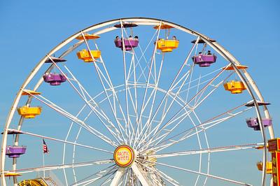 Santa Monica, California, February 2008 - The ferris wheel located in Pacific Park, the amusement park on the Santa Monica Pier.  The ferris wheel is the world's only solar-powered ferris wheel.