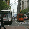 Trolleys old and new on Market Street in San Francisco.