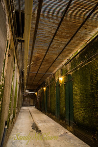 A passageway under the barracks building on Alcatraz.