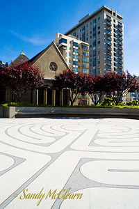 The outdoor labyrinth at Grace Cathedral serves as a foreground for this view of San Francisco's downtown area on Nob Hill.