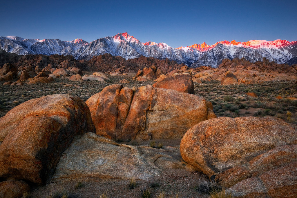 Alpine glow and the Alabama hills, eastern Sierras
