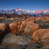 Alpine glow and the Alabama hills, eastern Sierras