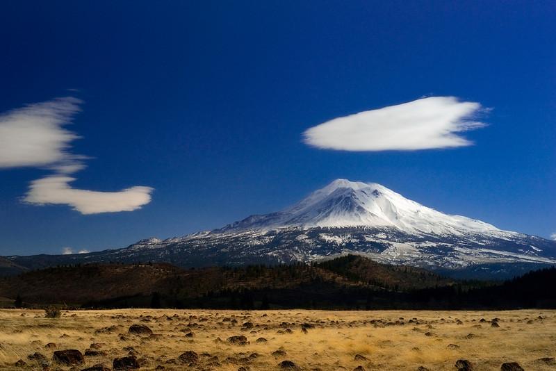 Lenticular clouds and Mt. Shasta.