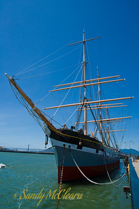 The barque Balclutha was built in Glasgow in 1886, and made several trips around Cape Horn before being renamed Star of Alaska. She has regained her original name, and is now restored and on display at the Hyde Street pier.