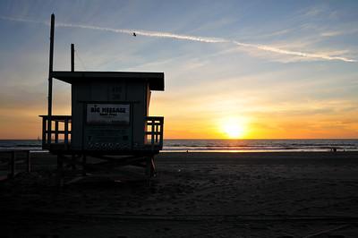 Venice Beach, California, August 2008 - A lifeguard stand at sunset on Venice Beach.